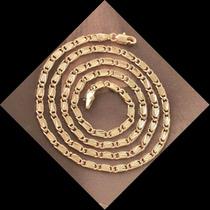 Colar Corrente Caracol 50cm, 3mm, Banho Ouro 14kt Semi Joia