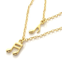 Colar Duplo Notas Musicais Música Banho De Ouro 18k + Caixa