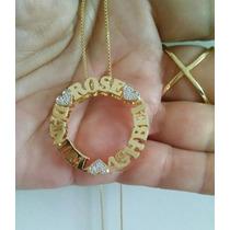 Pingente Mandala Com Nome Personalizada Banhada A Ouro 18k