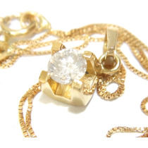 Enorme Diamante Ponto De Luz Linda Corrente Ouro18k 750!