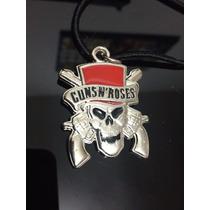 Colar Bandas De Rock Punk Guns N´ Roses Caveira Arma Cromada