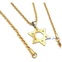 Medalha Estrela Davi Salomão + Corrente + Pulseira Folheados