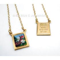 Escapulario São Jorge Folheado Ouro 18k C/ Garantia Dourado