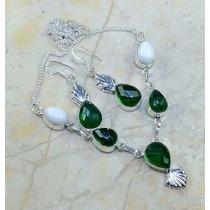 Colar E Brinco Pedra Obsidiana Verde Cor Esmeralda E Jaspe