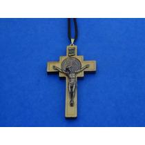 Crucifixo Sao Bento Madeira Com Cordao Colar Tau Terço