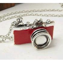 Colar Cordão Câmera Máquina Fotográfica Vermelha Red 0006b