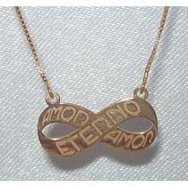 Colar Infinito Amor Eterno Amor De Prata Banhado A Ouro
