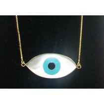 Colar Olho Grego Madre-perola Ouro 18k Tipo Olho De Horus!