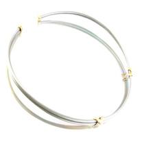 Gargantilha De 2 Fios Em Aço Com Detalhes De Ouro J10169