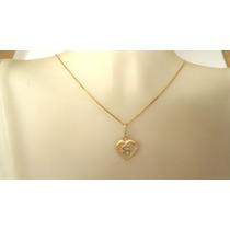 Kgshop Gargantilha Feminina Letra Nome Coração Ouro18k 40cm