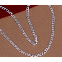 Corrente Colar Masculino Folheado Prata 925. 50cm 4mm