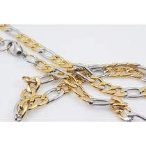 Colar Cordão Corrente Dourado Prata Aço Inox Elo 3x1 55cm7