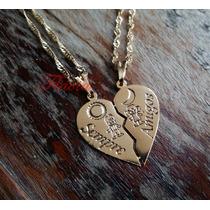 Correntinha Pingente Casal De Namorados No Coração Dourada