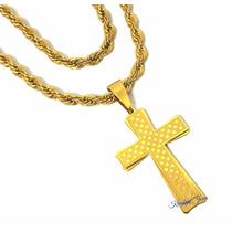 Cordão E Crucifixo Grandes Masculinos Aço Inox 316l Banhado!