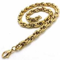 Corrente/cordão Masculino Aço Inox 316 L- Cor: Ouro11mmx60cm
