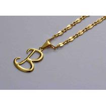 Corrente Cordão 64cm + Pingente Letra B Folheado Ouro 18k