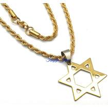 Pingente Estrela Davi Hexagrama + Corrente Trançada Banhados