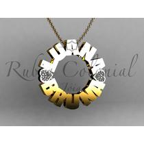 Pingente Mandala Com Nome E Diamantes Ouro 18k. 25 Mm.