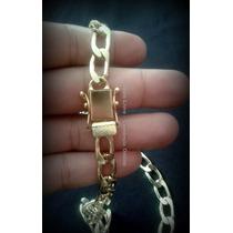 Conj Cordão+pulseira+placa Banhados A Ouro - Trava Dupla