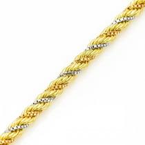 Monreale Maravilhosa Corrente Corda Em 3 Tons De Ouro 18k