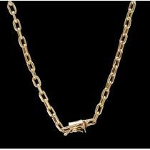 Cordão E Pulseira Oco Modelo Cadeado De Ouro 18 K 750
