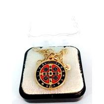 Frete Grátis* Gargantilha Folheada Ouro Medalha De São Bento