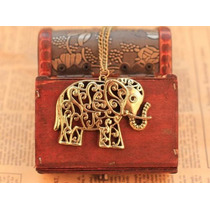 Colar Vintage Elegante - Elefante - 70 Cm - Cor Dourado
