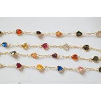 Swjoias Corrente Pedras Coloridas Corações Zirconia Ouro 18k