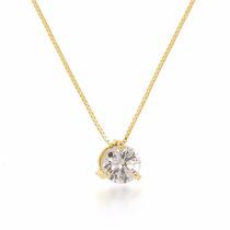 Cordão Feminino Em Ouro 18k Com Pedra Solitária De Brilhante