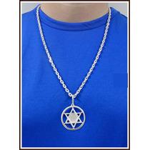Cordão,corrente, Pingente Estrela De Salomão Em Prata 950