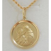 Swjoias Cordão Baiano 60cm Medalha Santo Antonio Ouro 18k