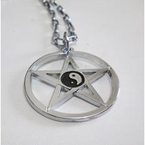 Colar Pingente Pentagrama Com Yin Yang Proteção E Equilíbrio
