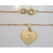 Swjoias Gargantilha Feminina Letra Nome Coração Ouro18k 40cm