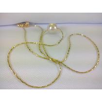 Gargantilha Cordao Feminino 18k Folheada Ouro Moda Perola