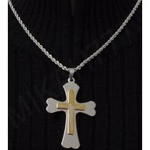 Corrente/cordão Prata+pingente Crucifixo Jesus100% Aço Inox