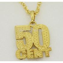 Colar Cordão C/ Pingente 50 Fifty Cent Dois Banhos De Ouro