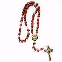 Terço Madeira De São Bento Com Medalha Crucifixo Resinados