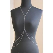 Colar De Corpo Body Chain Feminino Prata Ou Dourado