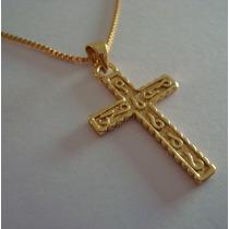 Corrente Feminina + Pingente Crucifixo Folheados A Ouro 18k