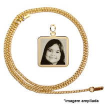 Pingente Folheado A Ouro Foto Gravada, Corrente - Filho, Pet