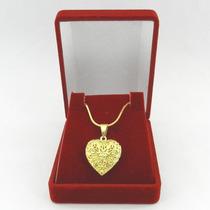 Corrente Feminina 50cm Relicario + Caixa Folheado Ouro Cr317