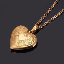 Colar Feminino Banhado Ouro 18k Pingente Coração Relicário