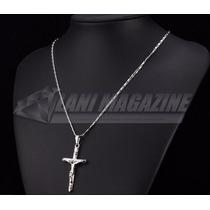 Corrente Cordão Masculino Pingente Crucifixo Ouro Branco 18k