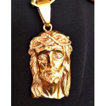 Pingente Ouro 18k Face Jesus Maciço Cravejado 52 Brilhantes