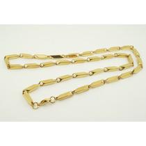 Colar Cordão Corrente Retangular Aço Inox 316l Dourado 60cm4