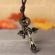 Colar Cordão Feminino Masculino Couro Cruz Crucifixo