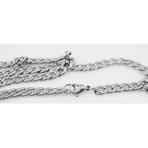 Colar Cordão Corrente Masculino Batido Aço Inox 316l 55cm 6