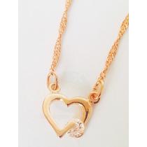 Cordão Rommanel Coração Vazado Pedra Cristal Namorados Love