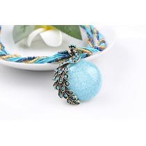 Colar Cordão Pavão Pedra Azul Lindo Vintage