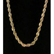 Corrente Trançada Banhada Com 20 Camadas De Ouro 18k Cordão